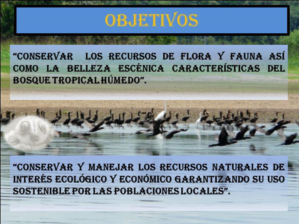 Conservar los recursos de flora y fauna así como la belleza escénica características del bosque tropical húmedo. Conservar y manejar los recursos natu