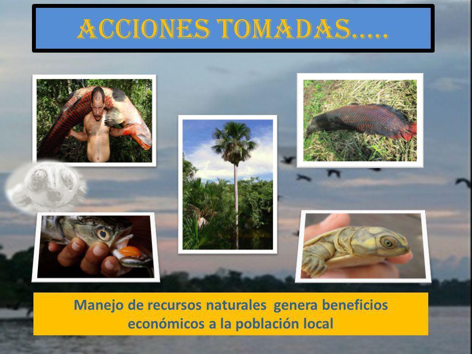 Manejo de recursos naturales genera beneficios económicos a la población local Acciones tomadas…..