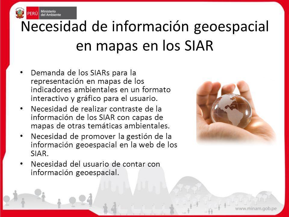 Necesidad de información geoespacial en mapas en los SIAR Demanda de los SIARs para la representación en mapas de los indicadores ambientales en un fo