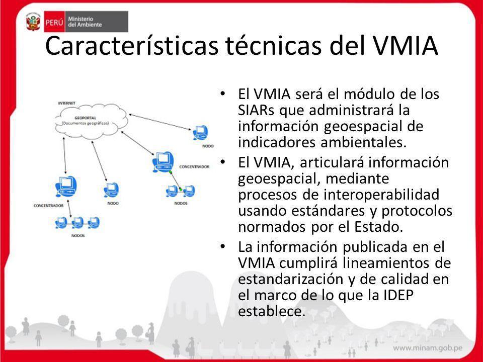 Características técnicas del VMIA El VMIA será el módulo de los SIARs que administrará la información geoespacial de indicadores ambientales. El VMIA,