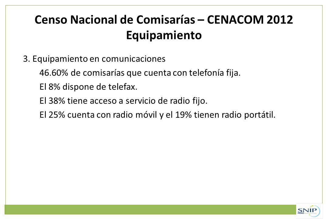 Censo Nacional de Comisarías – CENACOM 2012 Equipamiento 3. Equipamiento en comunicaciones 46.60% de comisarías que cuenta con telefonía fija. El 8% d