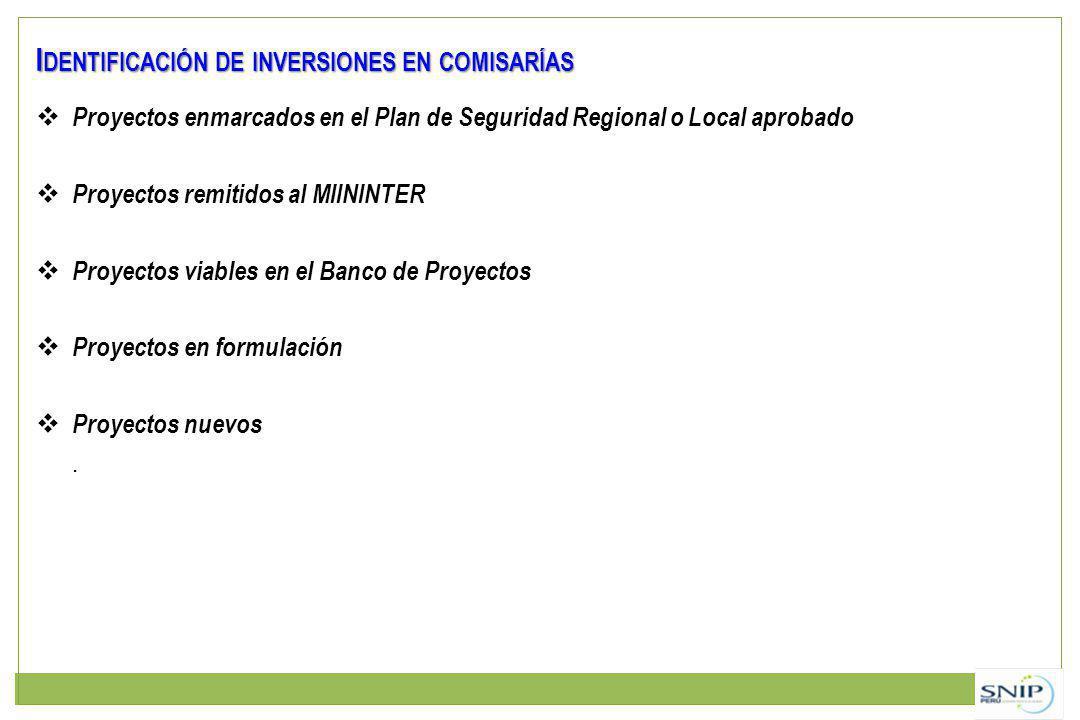 I DENTIFICACIÓN DE INVERSIONES EN COMISARÍAS Proyectos enmarcados en el Plan de Seguridad Regional o Local aprobado Proyectos remitidos al MIININTER P