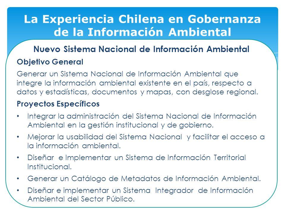 14 La Experiencia Chilena en Gobernanza de la Información Ambiental Nuevo Sistema Nacional de Información Ambiental Objetivo General Generar un Sistema Nacional de Información Ambiental que integre la información ambiental existente en el país, respecto a datos y estadísticas, documentos y mapas, con desglose regional.