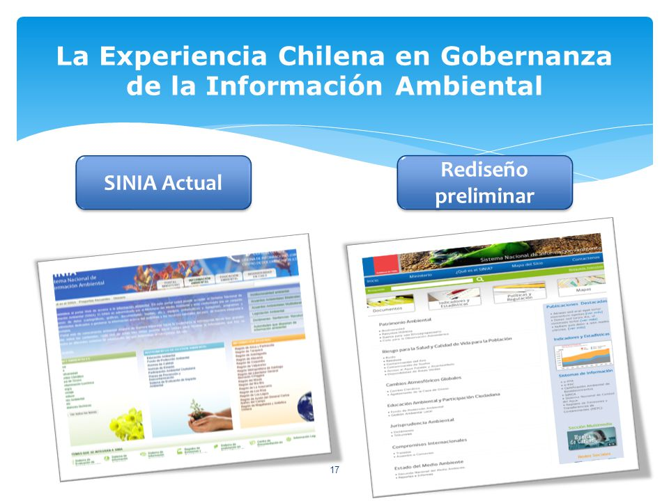 La Experiencia Chilena en Gobernanza de la Información Ambiental 17 SINIA Actual Rediseño preliminar