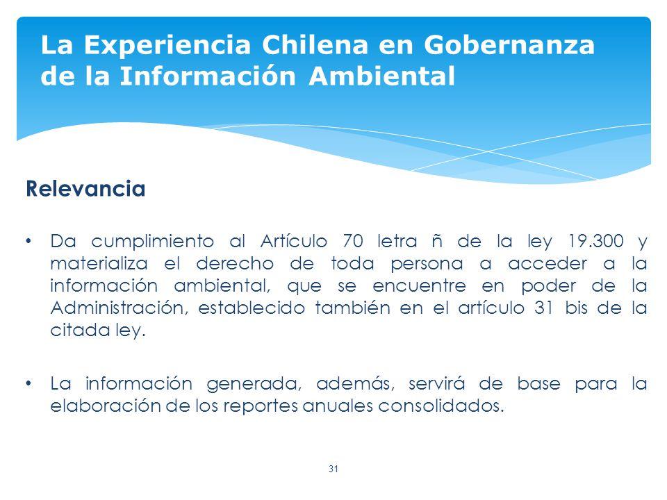 31 La Experiencia Chilena en Gobernanza de la Información Ambiental Relevancia Da cumplimiento al Artículo 70 letra ñ de la ley 19.300 y materializa el derecho de toda persona a acceder a la información ambiental, que se encuentre en poder de la Administración, establecido también en el artículo 31 bis de la citada ley.