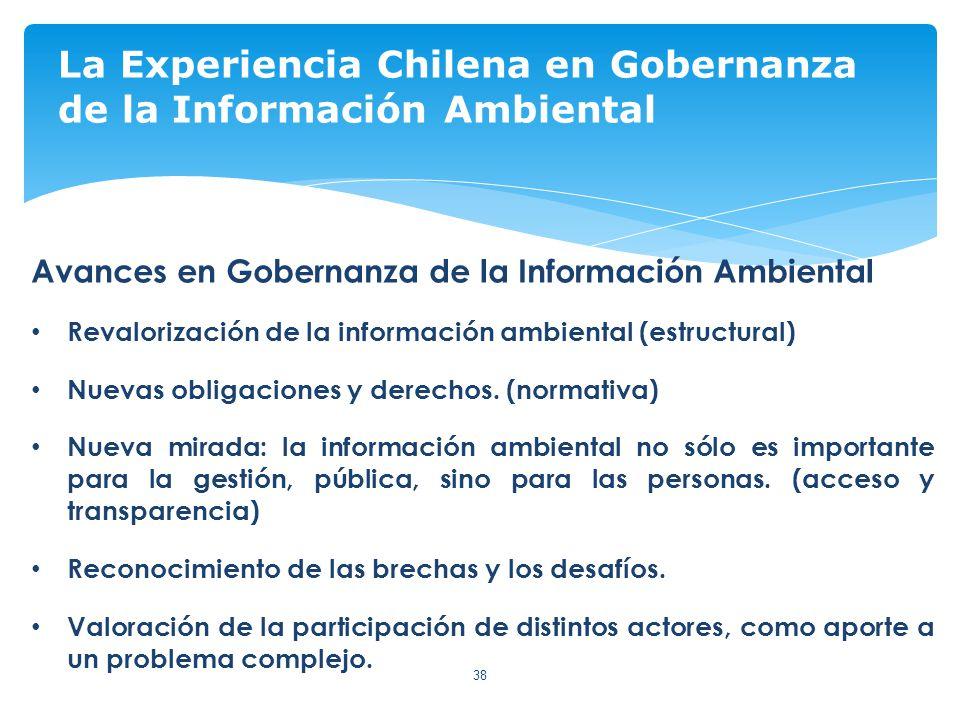 38 La Experiencia Chilena en Gobernanza de la Información Ambiental Avances en Gobernanza de la Información Ambiental Revalorización de la información ambiental (estructural) Nuevas obligaciones y derechos.