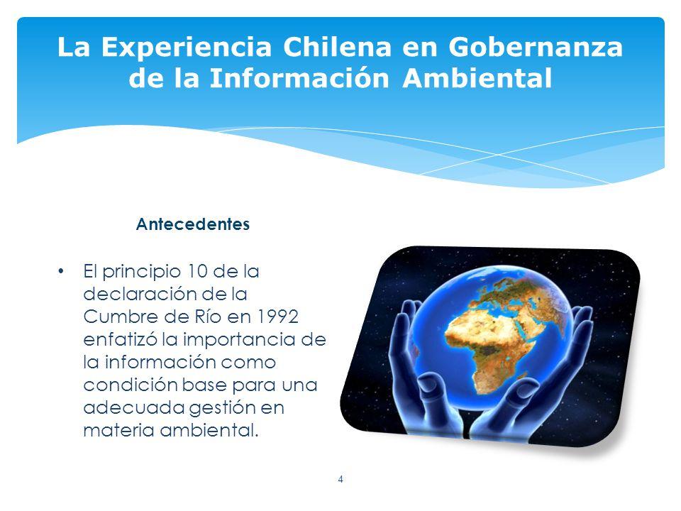 Antecedentes El principio 10 de la declaración de la Cumbre de Río en 1992 enfatizó la importancia de la información como condición base para una adecuada gestión en materia ambiental.