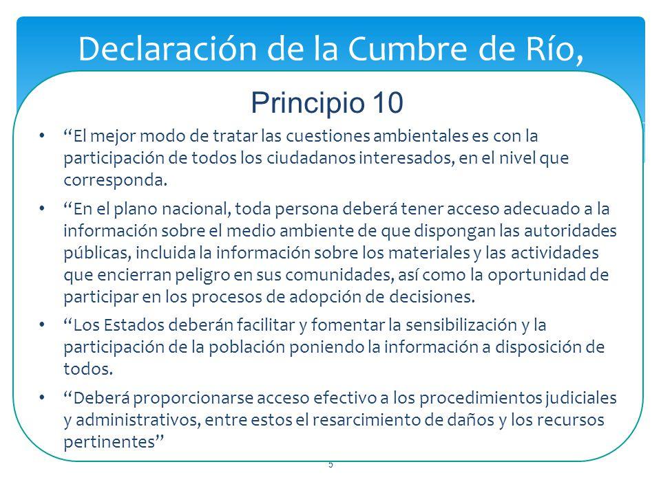 5 Declaración de la Cumbre de Río, Principio 10 El mejor modo de tratar las cuestiones ambientales es con la participación de todos los ciudadanos interesados, en el nivel que corresponda.