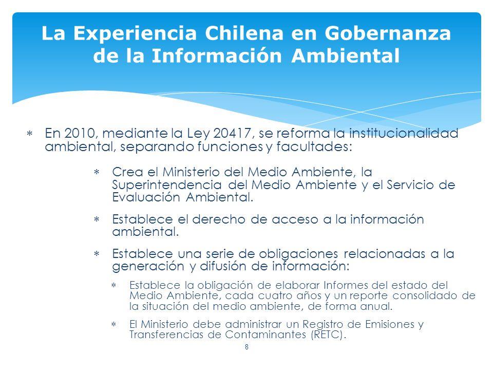 En 2010, mediante la Ley 20417, se reforma la institucionalidad ambiental, separando funciones y facultades: Crea el Ministerio del Medio Ambiente, la Superintendencia del Medio Ambiente y el Servicio de Evaluación Ambiental.