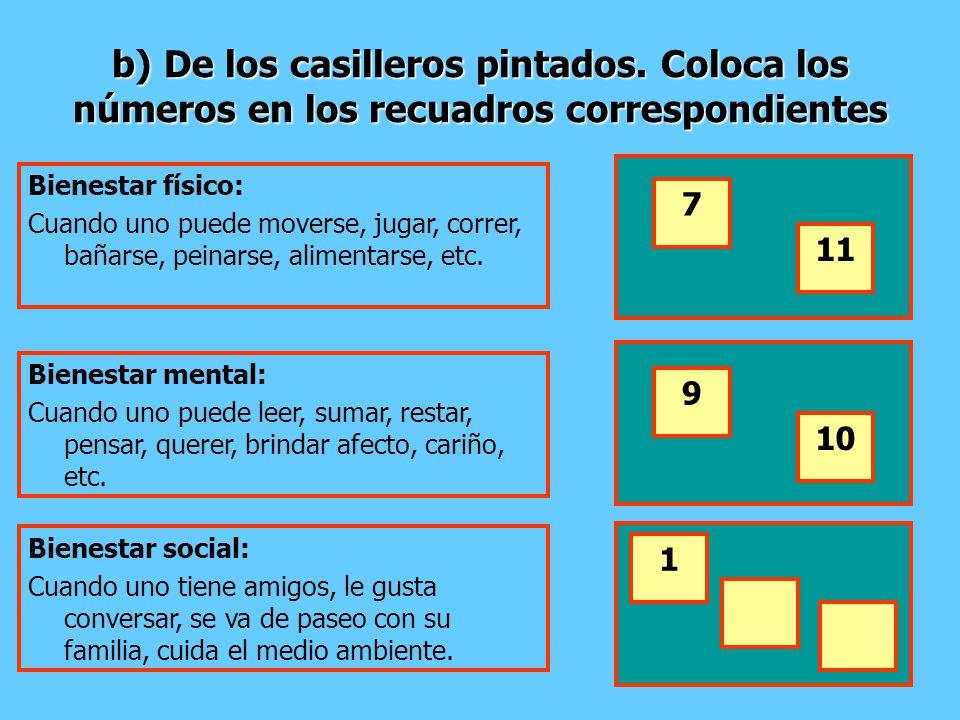 b) De los casilleros pintados. Coloca los números en los recuadros correspondientes Bienestar físico: Cuando uno puede moverse, jugar, correr, bañarse