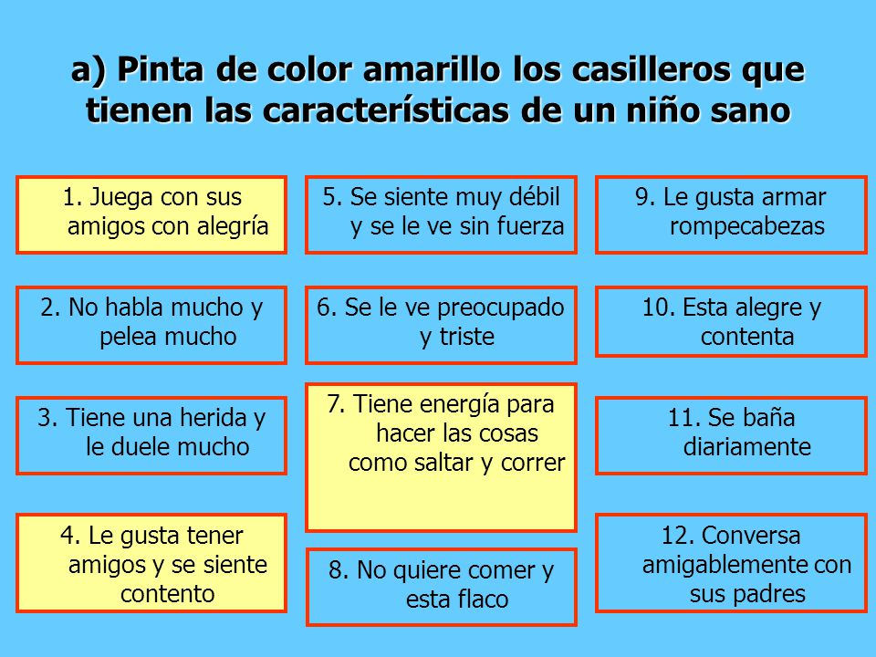 a) Pinta de color amarillo los casilleros que tienen las características de un niño sano 1. Juega con sus amigos con alegría 5. Se siente muy débil y