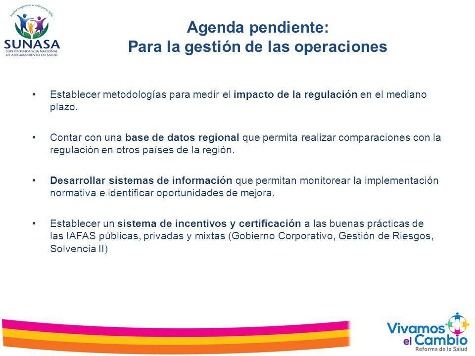 Establecer metodologías para medir el impacto de la regulación en el mediano plazo. Contar con una base de datos regional que permita realizar compara