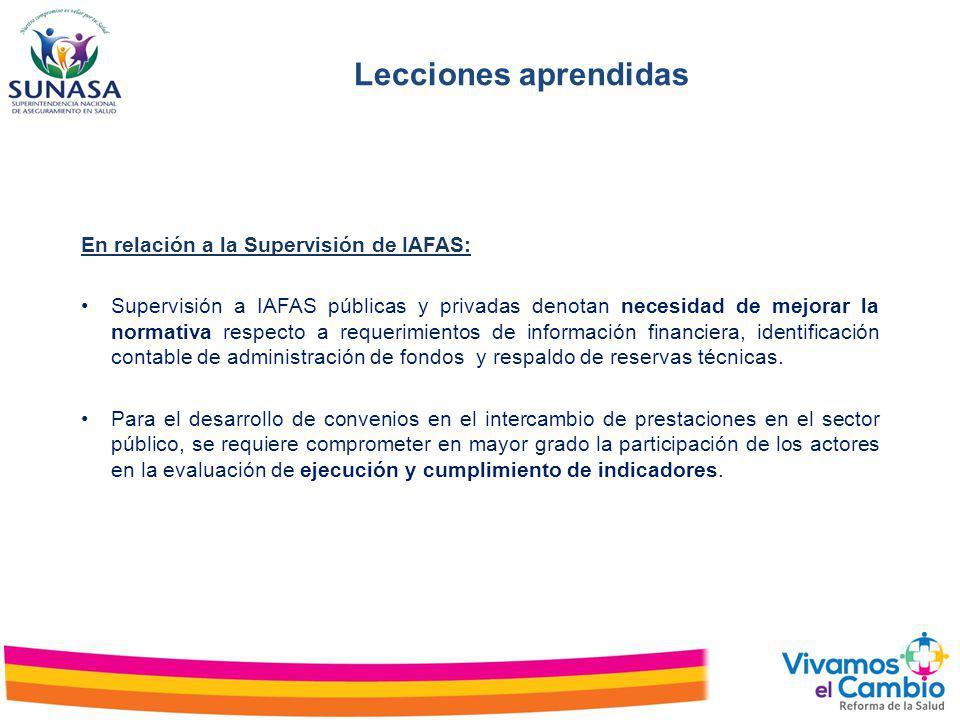 Lecciones aprendidas En relación a la Supervisión de IAFAS: Supervisión a IAFAS públicas y privadas denotan necesidad de mejorar la normativa respecto