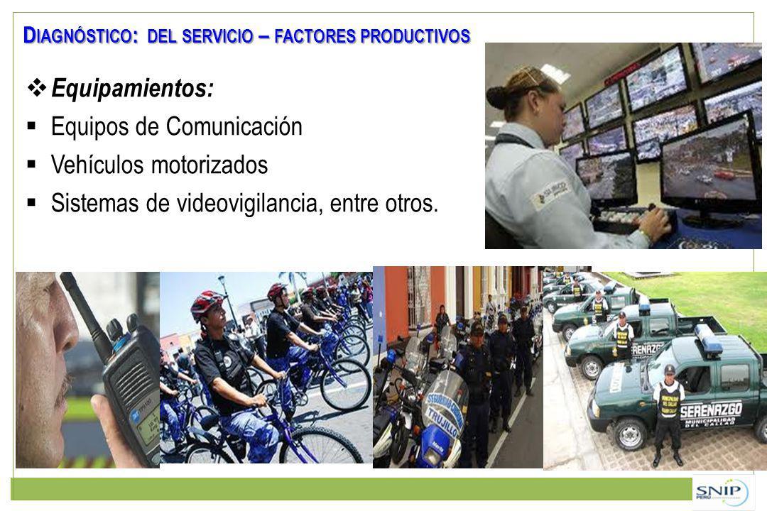 Equipamientos: Equipos de Comunicación Vehículos motorizados Sistemas de videovigilancia, entre otros. D IAGNÓSTICO : DEL SERVICIO – FACTORES PRODUCTI