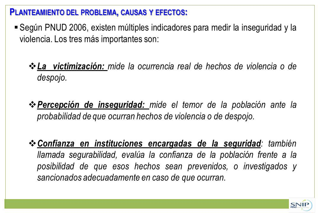 P LANTEAMIENTO DEL PROBLEMA, CAUSAS Y EFECTOS : Según PNUD 2006, existen múltiples indicadores para medir la inseguridad y la violencia. Los tres más