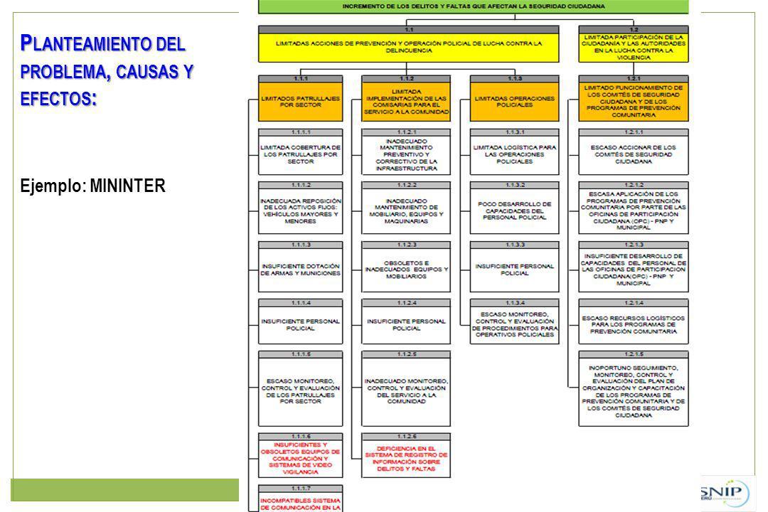Ejemplo: MININTER P LANTEAMIENTO DEL PROBLEMA, CAUSAS Y EFECTOS :