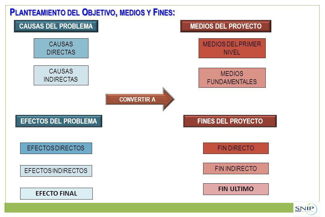 CAUSAS DEL PROBLEMAMEDIOS DEL PROYECTO CAUSAS DIRECTAS CAUSAS INDIRECTAS MEDIOS DEL PRIMER NIVEL MEDIOS FUNDAMENTALES EFECTOS DEL PROBLEMAFINES DEL PROYECTO EFECTOS DIRECTOS EFECTOS INDIRECTOS CONVERTIR A FIN DIRECTO FIN INDIRECTO EFECTO FINAL FIN ULTIMO P LANTEAMIENTO DEL O BJETIVO, MEDIOS Y F INES :