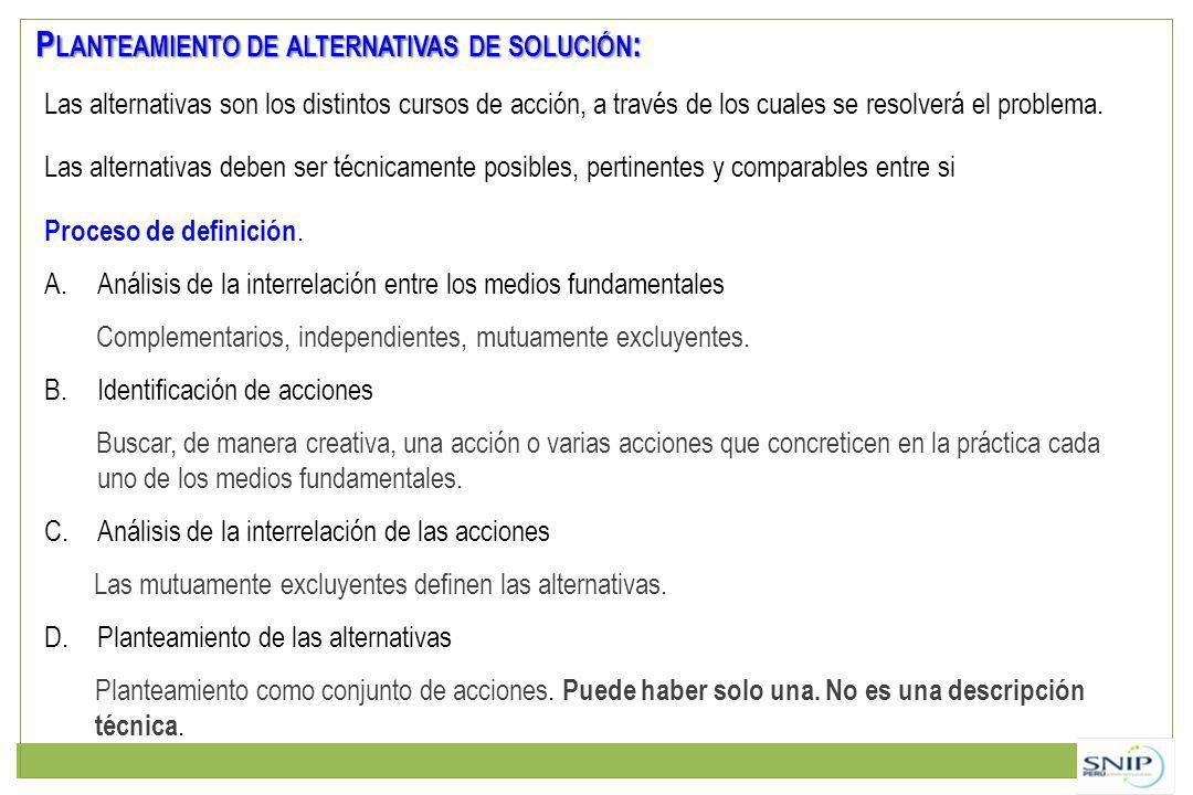 P LANTEAMIENTO DE ALTERNATIVAS DE SOLUCIÓN : Las alternativas son los distintos cursos de acción, a través de los cuales se resolverá el problema.