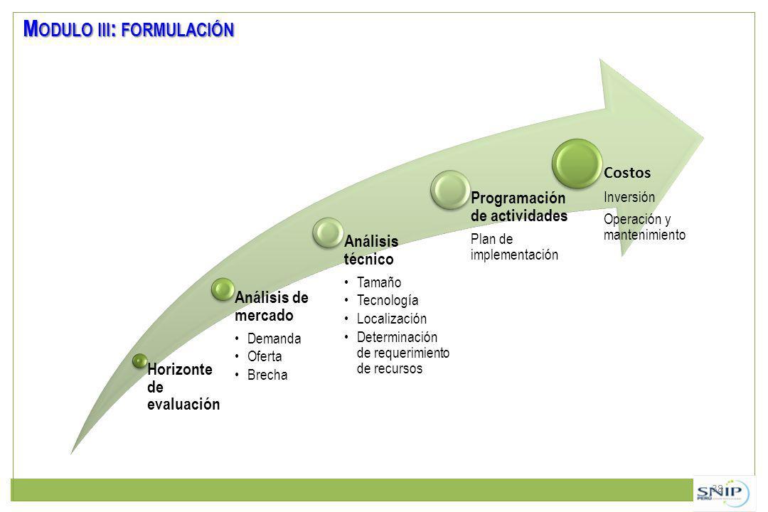 38 M ODULO III : FORMULACIÓN Horizonte de evaluación Análisis de mercado Demanda Oferta Brecha Análisis técnico Tamaño Tecnología Localización Determinación de requerimiento de recursos Programación de actividades Plan de implementación Costos Inversión Operación y mantenimiento