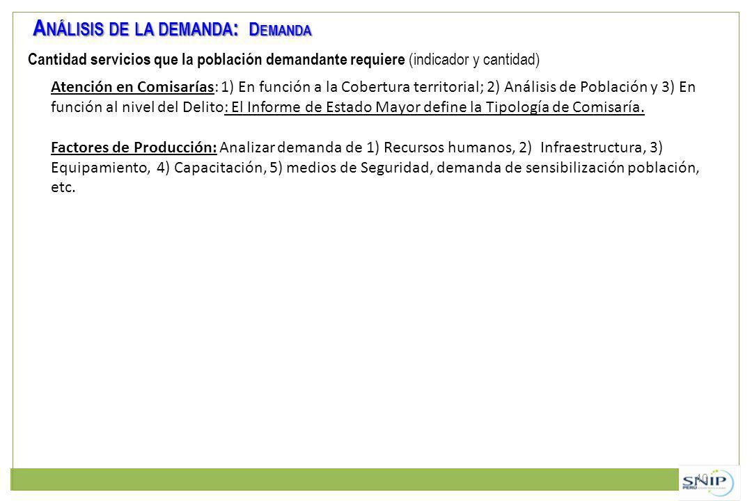 40 A NÁLISIS DE LA DEMANDA : D EMANDA Cantidad servicios que la población demandante requiere (indicador y cantidad) Atención en Comisarías: 1) En fun