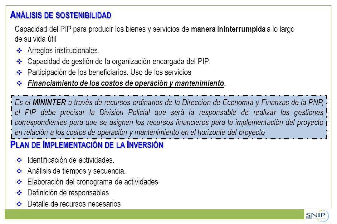 A NÁLISIS DE SOSTENIBILIDAD Arreglos institucionales. Capacidad de gestión de la organización encargada del PIP. Participación de los beneficiarios. U