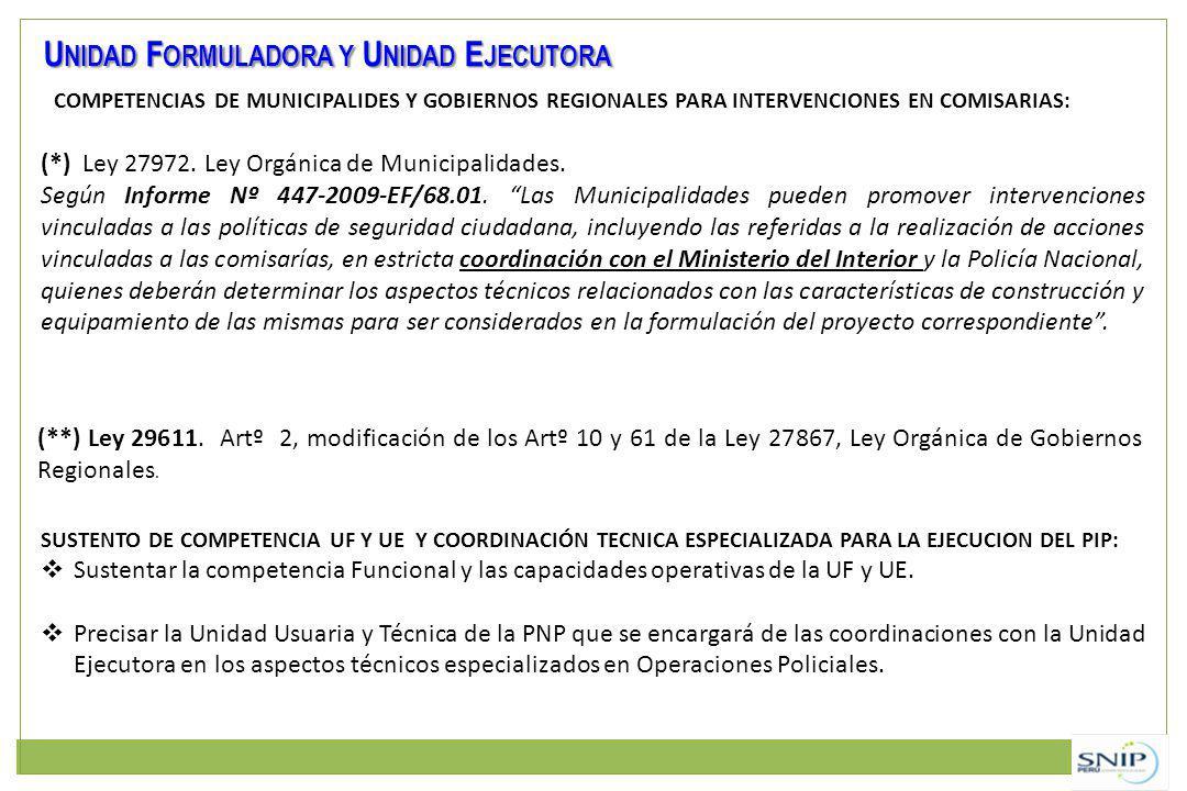 COMPETENCIAS DE MUNICIPALIDES Y GOBIERNOS REGIONALES PARA INTERVENCIONES EN COMISARIAS: U NIDAD F ORMULADORA Y U NIDAD E JECUTORA (*) Ley 27972.