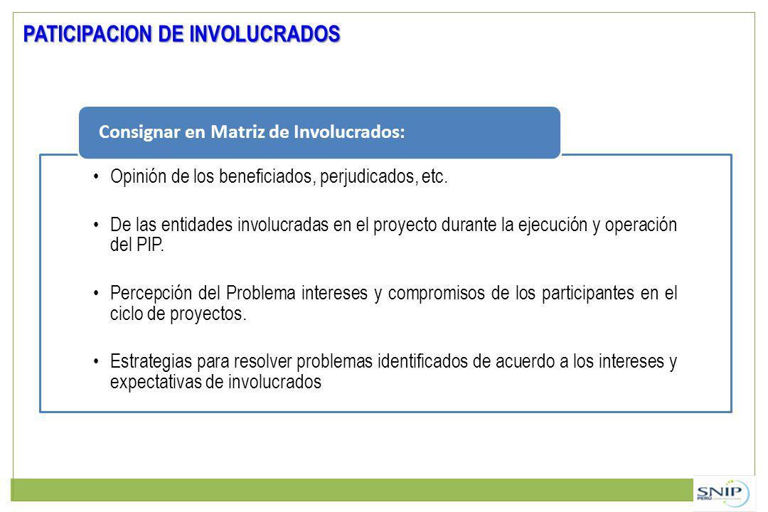 Opinión de los beneficiados, perjudicados, etc. De las entidades involucradas en el proyecto durante la ejecución y operación del PIP. Percepción del