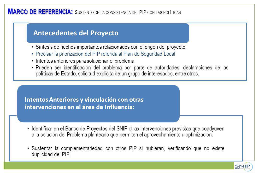 Síntesis de hechos importantes relacionados con el origen del proyecto. Precisar la priorización del PIP referida al Plan de Seguridad Local Intentos