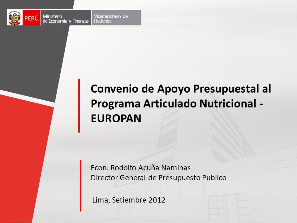 Econ. Rodolfo Acuña Namihas Director General de Presupuesto Publico Lima, Setiembre 2012 Convenio de Apoyo Presupuestal al Programa Articulado Nutrici