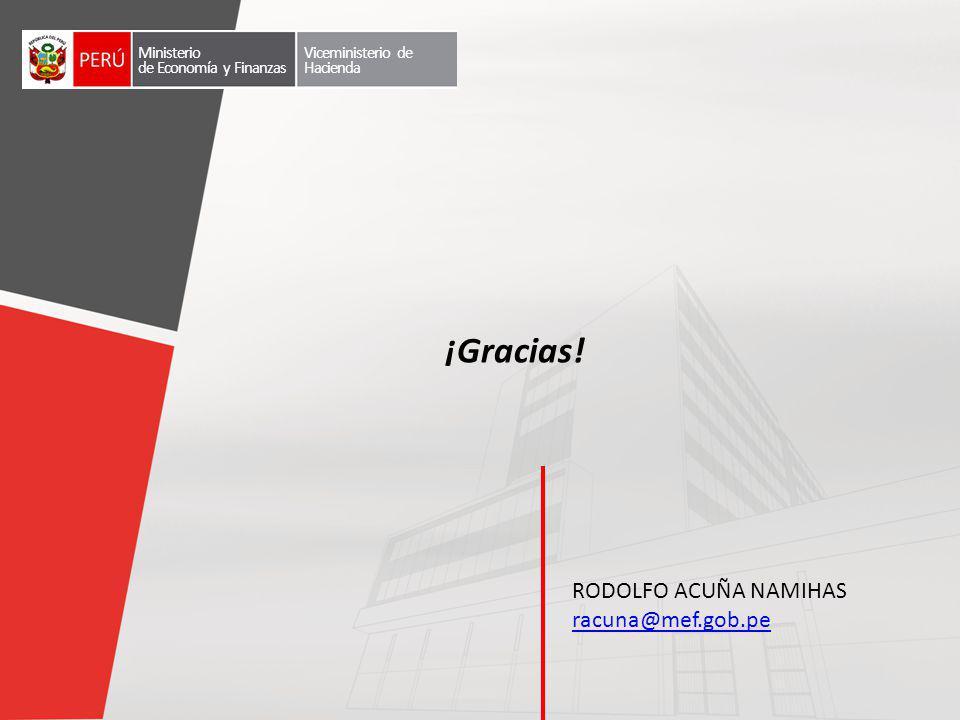 RODOLFO ACUÑA NAMIHAS racuna@mef.gob.pe ¡Gracias! Ministerio de Economía y Finanzas Viceministerio de Hacienda