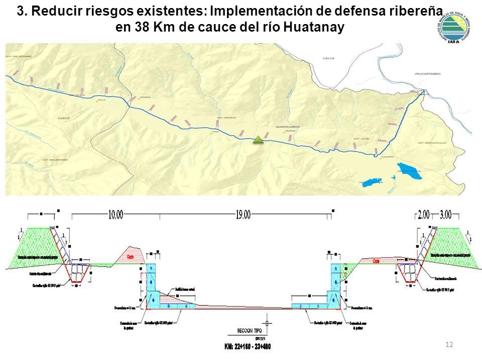 3. Reducir riesgos existentes: Implementación de defensa ribereña en 38 Km de cauce del río Huatanay 12