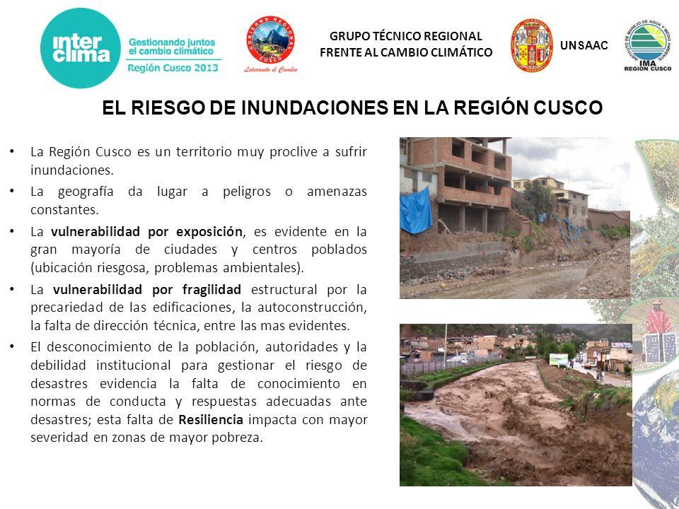 GRUPO TÉCNICO REGIONAL FRENTE AL CAMBIO CLIMÁTICO IMPERMEABILIZACION DEL SUELO DE AREA URBANO PERDIDA DE C.V EN LAS MICROCUENCAS INCREMENTO DE LA ESCORRENTIA ALTA CAPACIDAD DE TRANSPORTE DE SEDIMENTOS INCAPACIDAD DE CONDUCCION DEL CAUCE ACTUAL DESAPARICION DE LA CUBIERTA VEGETAL RIBEREÑA EROSION VERTICAL DEL CAUCE AUMENTO DE LA VELOCIDAD DEL FLUJO AUMENTO CONSIDERABLE DEL CAUDAL MODIFICACION GEOMORFOLOGIA RIO SINUOSA A RECTILINEA Y ESTRECHO DETERIORO DEL PAISAJE FLUVIAL ARTIFICIALIZACION DEL CAUCE INUNDACIONES DESEQUILIBRIO FISICO DEL CAUCE DE RIO UNSAAC