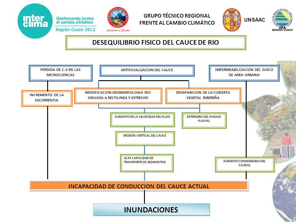 GRUPO TÉCNICO REGIONAL FRENTE AL CAMBIO CLIMÁTICO IMPERMEABILIZACION DEL SUELO DE AREA URBANO PERDIDA DE C.V EN LAS MICROCUENCAS INCREMENTO DE LA ESCO