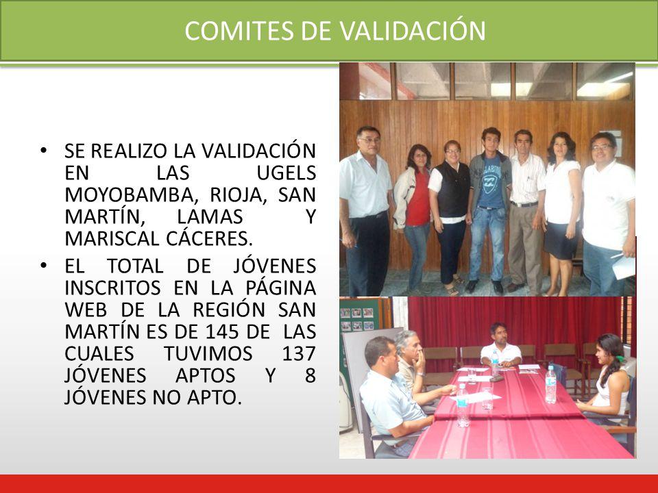 COMITES DE VALIDACIÓN SE REALIZO LA VALIDACIÓN EN LAS UGELS MOYOBAMBA, RIOJA, SAN MARTÍN, LAMAS Y MARISCAL CÁCERES.