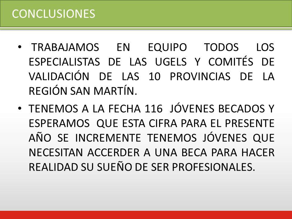CONCLUSIONES TRABAJAMOS EN EQUIPO TODOS LOS ESPECIALISTAS DE LAS UGELS Y COMITÉS DE VALIDACIÓN DE LAS 10 PROVINCIAS DE LA REGIÓN SAN MARTÍN.