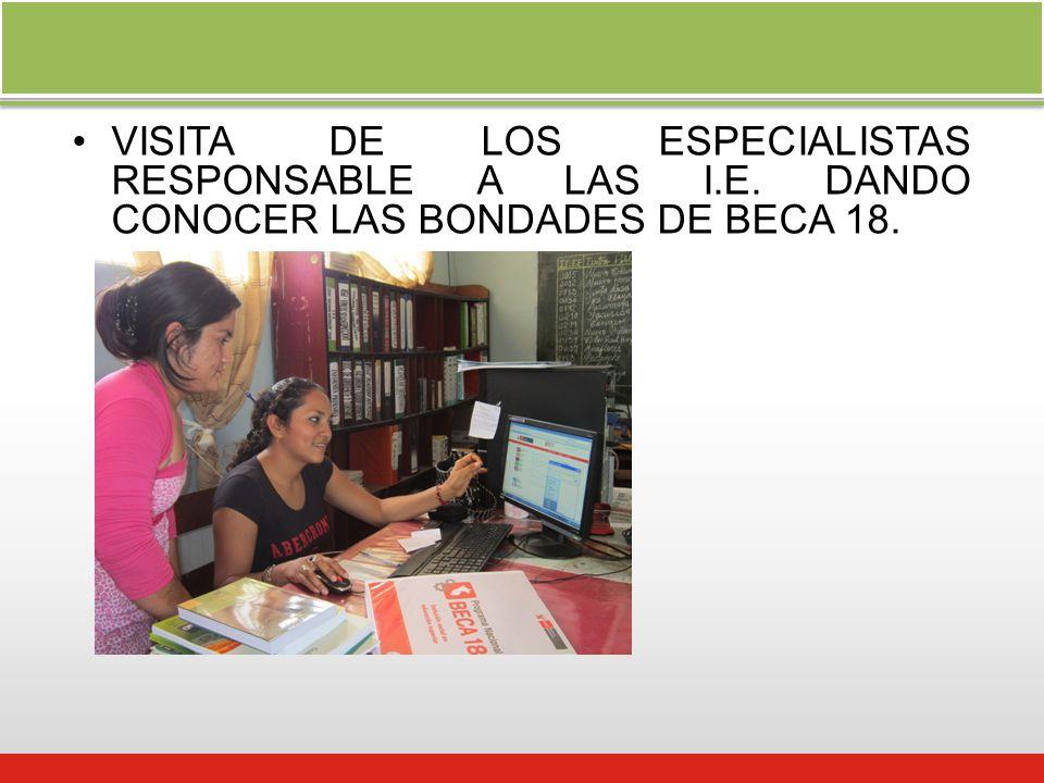 VISITA DE LOS ESPECIALISTAS RESPONSABLE A LAS I.E. DANDO CONOCER LAS BONDADES DE BECA 18.