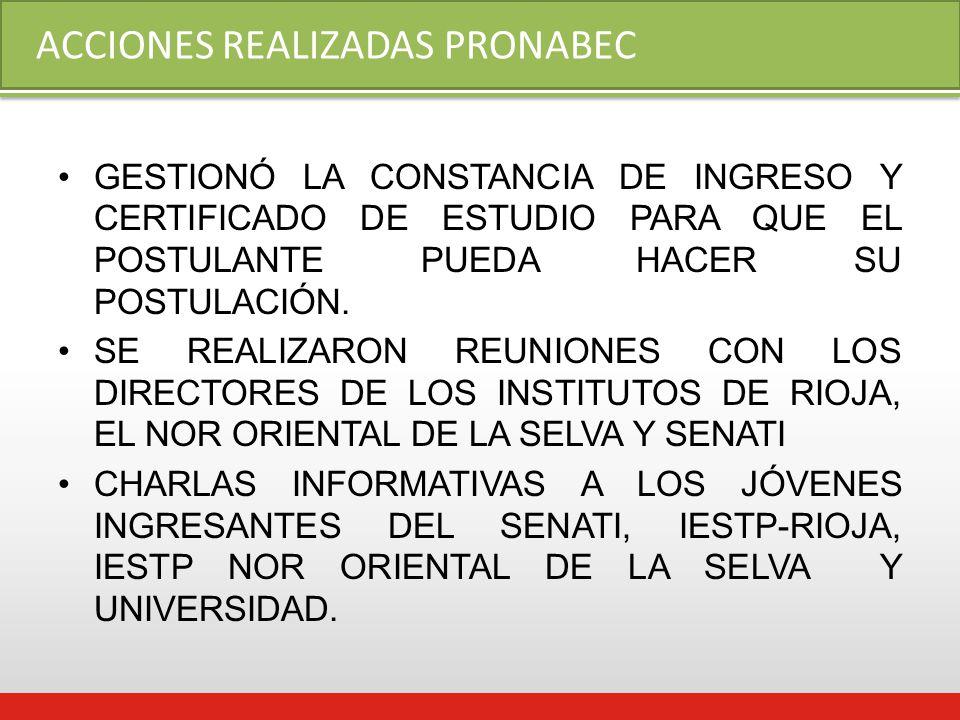 ACCIONES REALIZADAS PRONABEC GESTIONÓ LA CONSTANCIA DE INGRESO Y CERTIFICADO DE ESTUDIO PARA QUE EL POSTULANTE PUEDA HACER SU POSTULACIÓN.