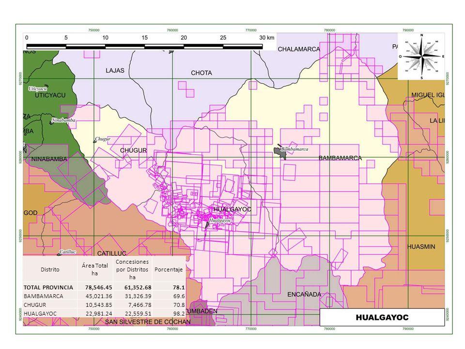 Distrito Área Total ha Concesiones por Distritos ha Porcentaje TOTAL PROVINCIA78,546.4561,352.6878.1 BAMBAMARCA45,021.3631,326.3969.6 CHUGUR10,543.857
