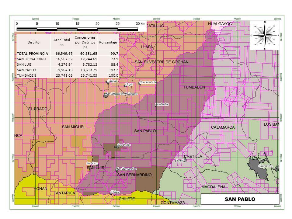 Distrito Área Total ha Concesiones por Distritos ha Porcentaje TOTAL PROVINCIA66,549.6760,381.6590.7 SAN BERNARDINO16,567.5212,244.6973.9 SAN LUIS4,27