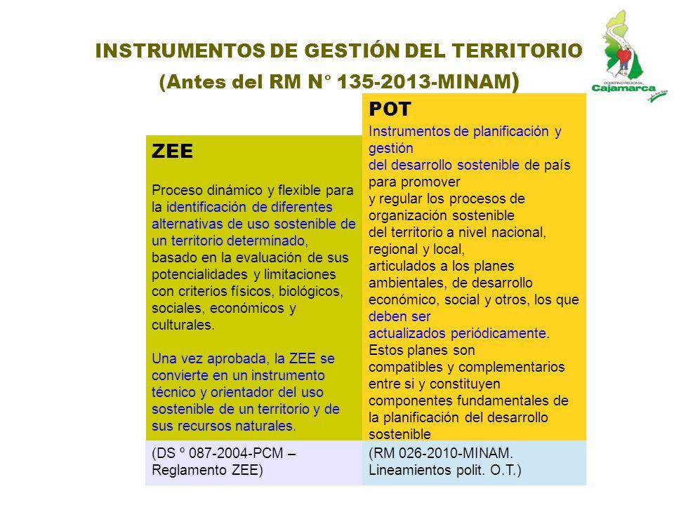 INSTRUMENTOS DE GESTIÓN DEL TERRITORIO (Antes del RM N° 135-2013-MINAM ) ZEE Proceso dinámico y flexible para la identificación de diferentes alternat