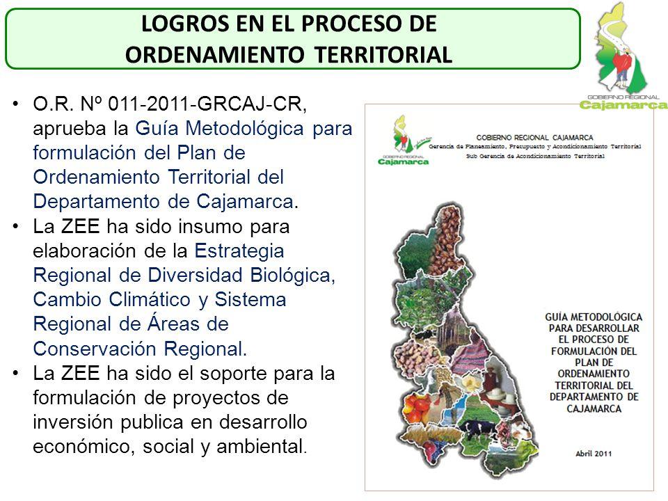 O.R. Nº 011-2011-GRCAJ-CR, aprueba la Guía Metodológica para formulación del Plan de Ordenamiento Territorial del Departamento de Cajamarca. La ZEE ha