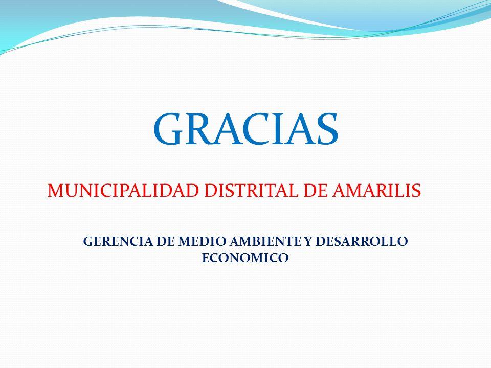 GRACIAS MUNICIPALIDAD DISTRITAL DE AMARILIS GERENCIA DE MEDIO AMBIENTE Y DESARROLLO ECONOMICO