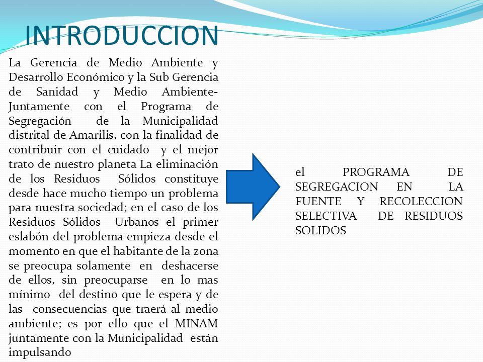 INTRODUCCION La Gerencia de Medio Ambiente y Desarrollo Económico y la Sub Gerencia de Sanidad y Medio Ambiente- Juntamente con el Programa de Segrega