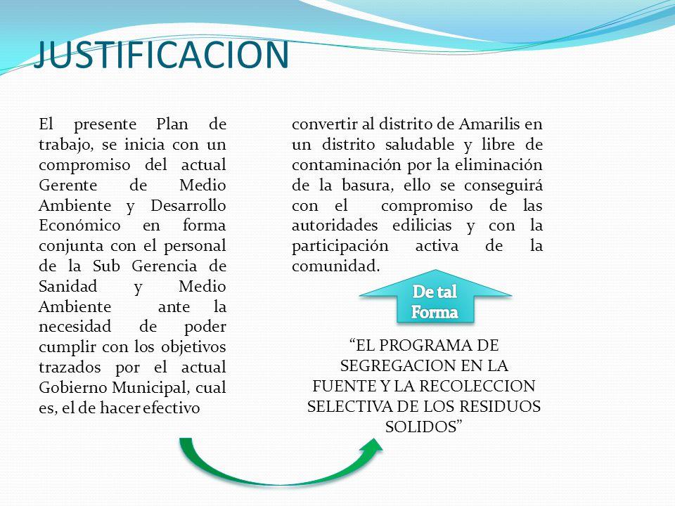 JUSTIFICACION El presente Plan de trabajo, se inicia con un compromiso del actual Gerente de Medio Ambiente y Desarrollo Económico en forma conjunta c