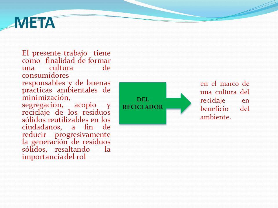META El presente trabajo tiene como finalidad de formar una cultura de consumidores responsables y de buenas practicas ambientales de minimización, se
