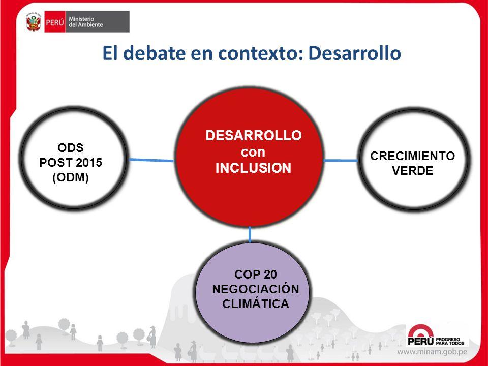 DESARROLLO con INCLUSION CRECIMIENTO VERDE ODS POST 2015 (ODM) COP 20 NEGOCIACIÓN CLIMÁTICA El debate en contexto: Desarrollo