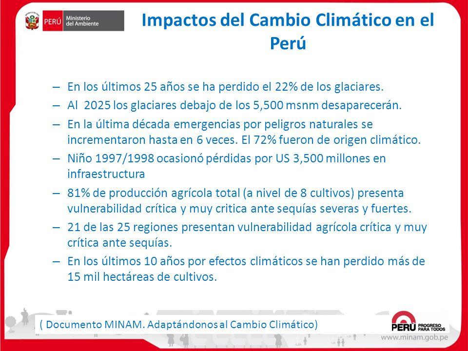 Impactos del Cambio Climático en el Perú – En los últimos 25 años se ha perdido el 22% de los glaciares. – Al 2025 los glaciares debajo de los 5,500 m