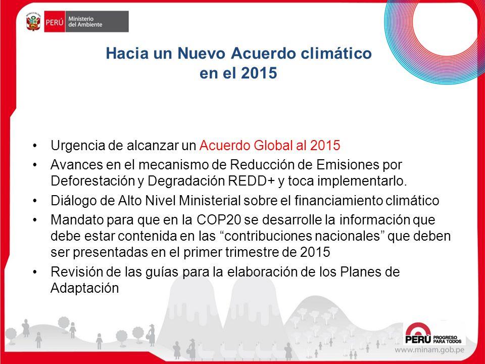 Urgencia de alcanzar un Acuerdo Global al 2015 Avances en el mecanismo de Reducción de Emisiones por Deforestación y Degradación REDD+ y toca implemen