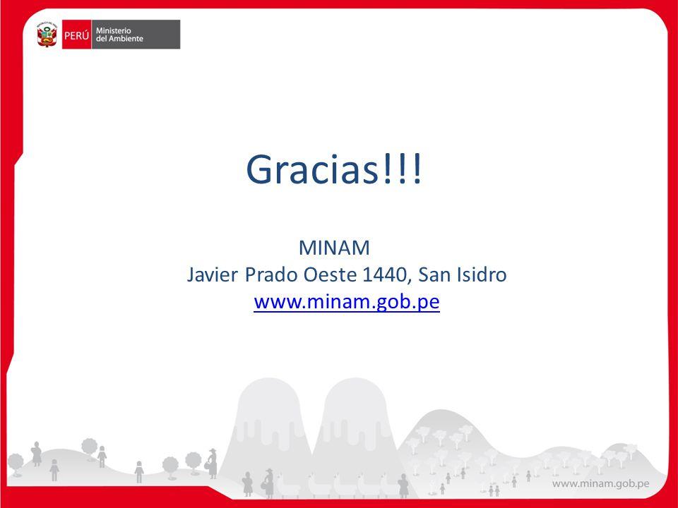 Gracias!!! MINAM Javier Prado Oeste 1440, San Isidro www.minam.gob.pe www.minam.gob.pe
