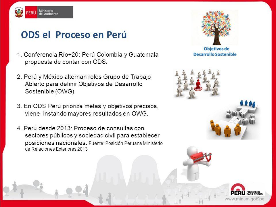 ODS el Proceso en Perú 6 1. Conferencia Río+20: Perú Colombia y Guatemala propuesta de contar con ODS. 2. Perú y México alternan roles Grupo de Trabaj